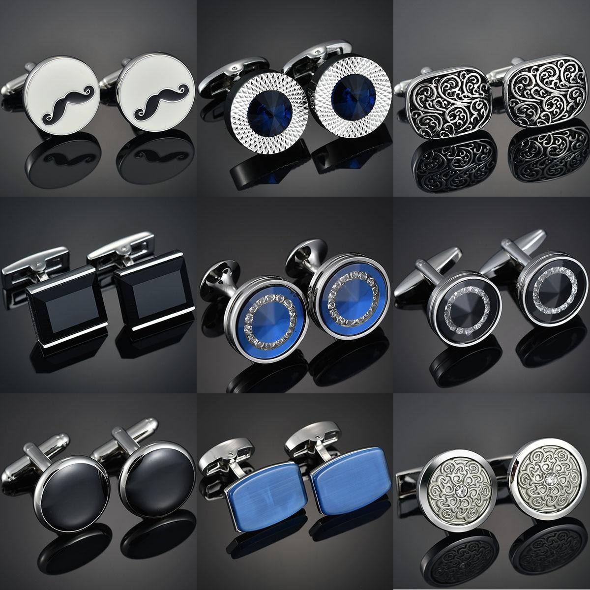 High-end Men's Shirts Cufflinks Luxury Design Silver Round Blue Crystal Cufflinks Gemelos Para Hombre Camisa Bouton Manchette