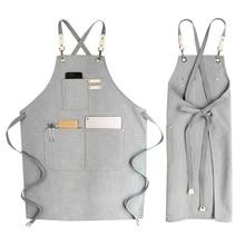 Fashion women kitchen barbecue cooking apron unisex restaurant denim aprons Bartender avental Work uniform Cortex Sleeveless bib