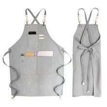 ファッション女性キッチンバーベキュークッキングエプロンレストランデニムエプロンバーテンダーavental作業服のcortexノースリーブよだれかけ