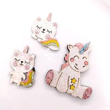 10 unids/lote de apliques acolchados de unicornio y gato con purpurina navideña para accesorios de clip de pelo DIY, decoración artesanal hecha a mano