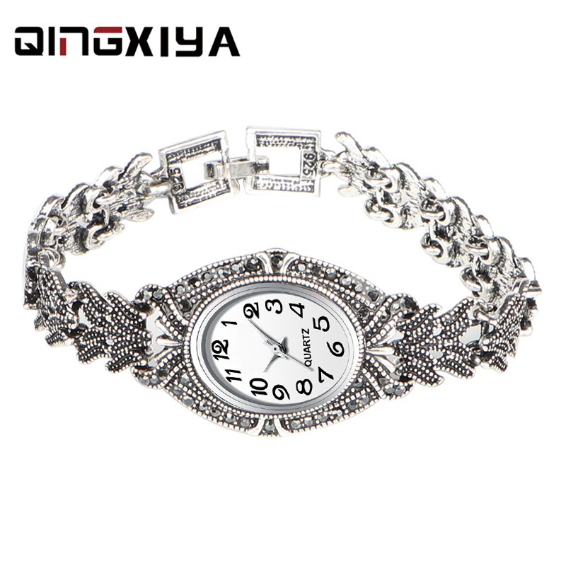QINGXIYA Brand Women Quartz Watches Fashion New Design Women Girl Ladies Luxury Antique Silver Bracelet Wristwatches Relojes