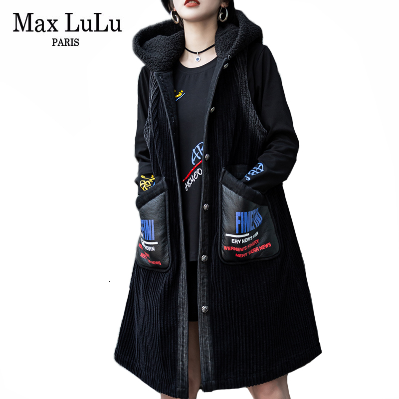 Image 3 - Max LuLu Fashion Korean Leather Clothes Ladies Luxury Hooded  Vests Womens Casual Long Fur Coats Winter Warm Oversized  WaistcoatsVests