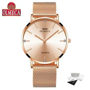 Image 2 - OLMECA トップブランドの高級時計ファッションレロジオ Feminino 腕時計防水女性の腕時計ドロップ出荷ドレス腕時計