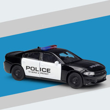 Back-Model Charger Car-Toys Die-Cast Police Toy-Cars Metal Pull Pursuit Black 1/36-Alloy