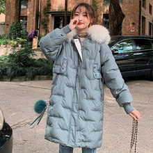 Down parka Down jacket female 2019 new heavy hair collar embroidery letters clothes long wave down parka 908(China)