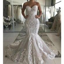 Милое кружевное свадебное платье Русалка сексуальные свадебные платья без спинки великолепные пуговицы сзади платье невесты robe de mariee