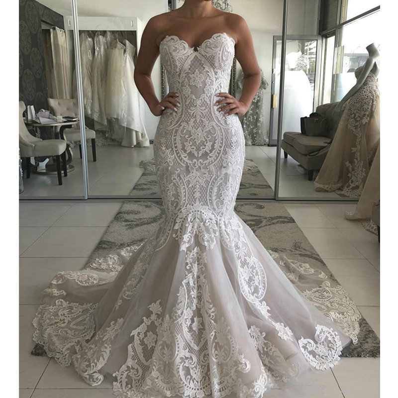 Sweetheart Lace Mermaid Wedding Dress 2020 Sexy Backless Wedding Gowns Gorgeous Buttons Back Bride Dress Robe De Mariee