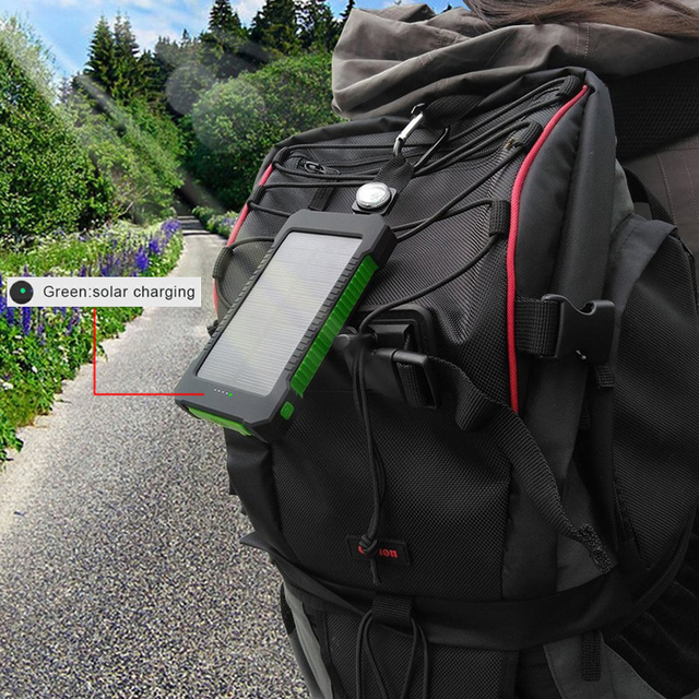 Hot Solar Power Bank Waterproof 30000mAh Solar Charger 2 USB Ports External Charger Powerbank for Xiaomi MI iPhone 8 Smartphone 6
