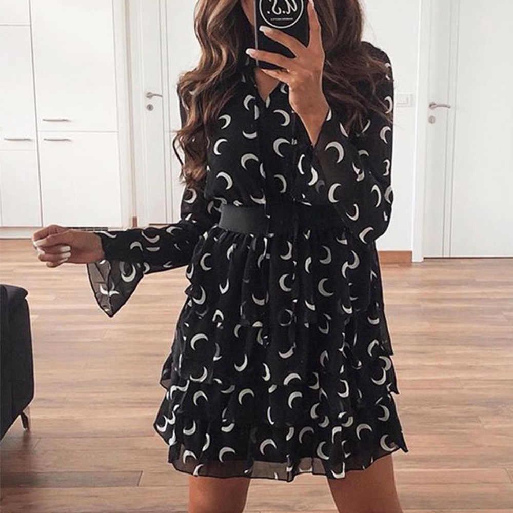 Frauen Sommer Bohemian Kleid Chiffon-eine Linie Floral Print Schärpen Kleid Mini Flare Langarm Bogen Strand Sommerkleid
