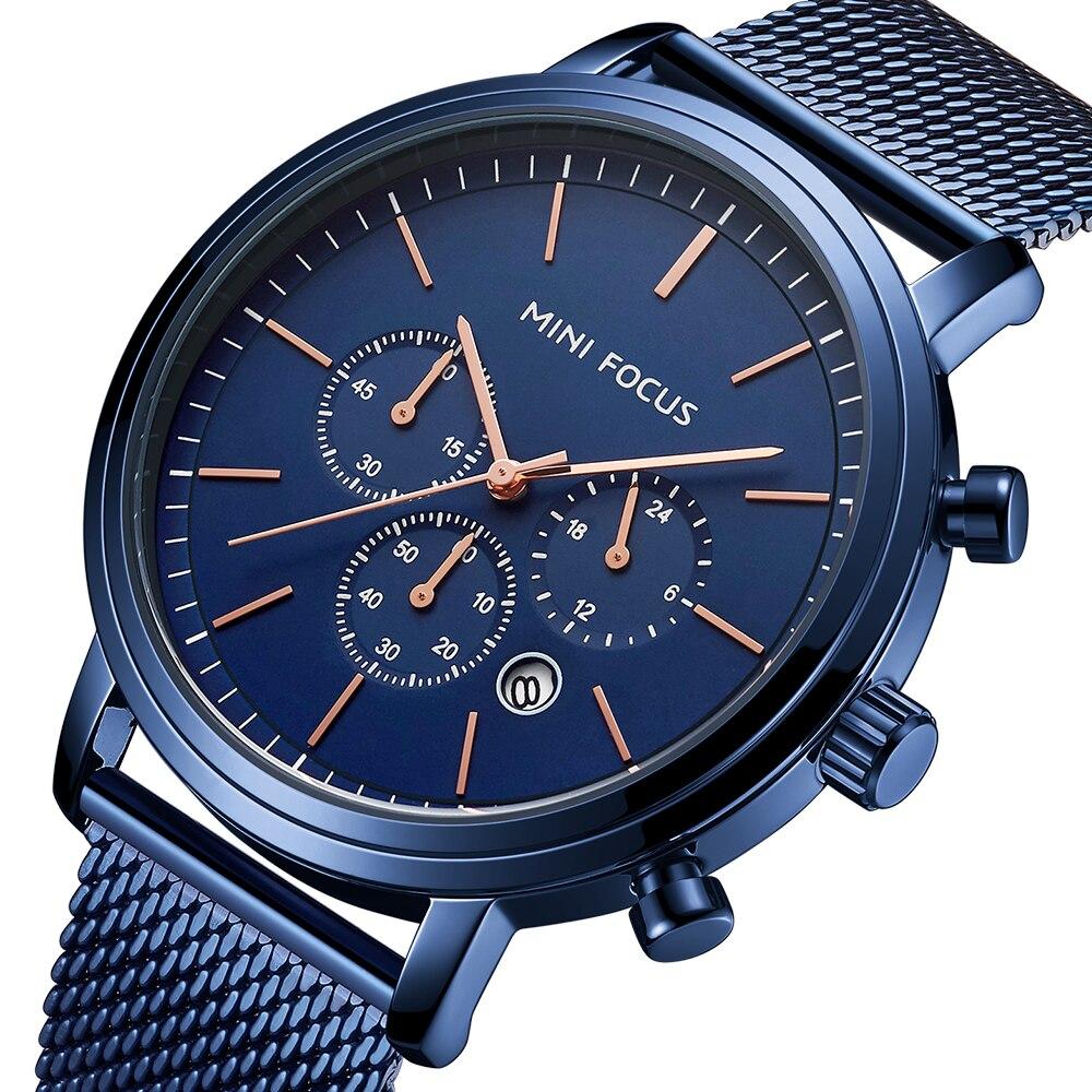 MINIFOCUS Fashion Men's Wrist Watches Luxury Design Quartz Watch Men 30m Waterproof Blue Stainless Steel Mesh Strap Reloj Hombre