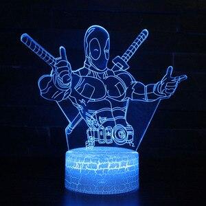 DC motyw filmowy lampki nocne Deadpool Model LED lampa Kidss dekoracja sypialni światła z pilotem idealne boże narodzenie prezenty