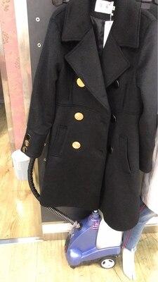 Abrigos de lana mujer invierno negro elegante lana abrigos doble pecho manga larga delgada mezcla de lana abrigo caliente - 6