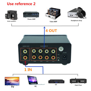 Image 5 - 4 (1) 1(4)OUT 4 WAY อินพุตเสียง RCA สายตัวเลือก Splitter Switcher สวิทช์ schalter แหล่งตัวเชื่อมต่อผู้จัดจำหน่ายกล่อง