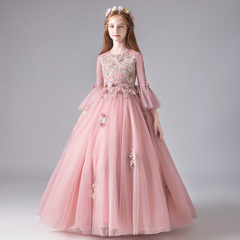 Children Girls Elegant New Embroidery Flowers Flare Sleeves Piano Pageants Host Princess Dress Birthday Wedding Party Mesh Dress