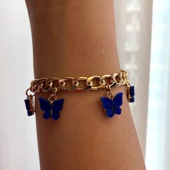 Flatfoosie Boho Sweet Gold Silver Color 16 Butterfly Bracelets For Women Shining Acrylic Animal Wide Bracelet Girls Jewelry Gift