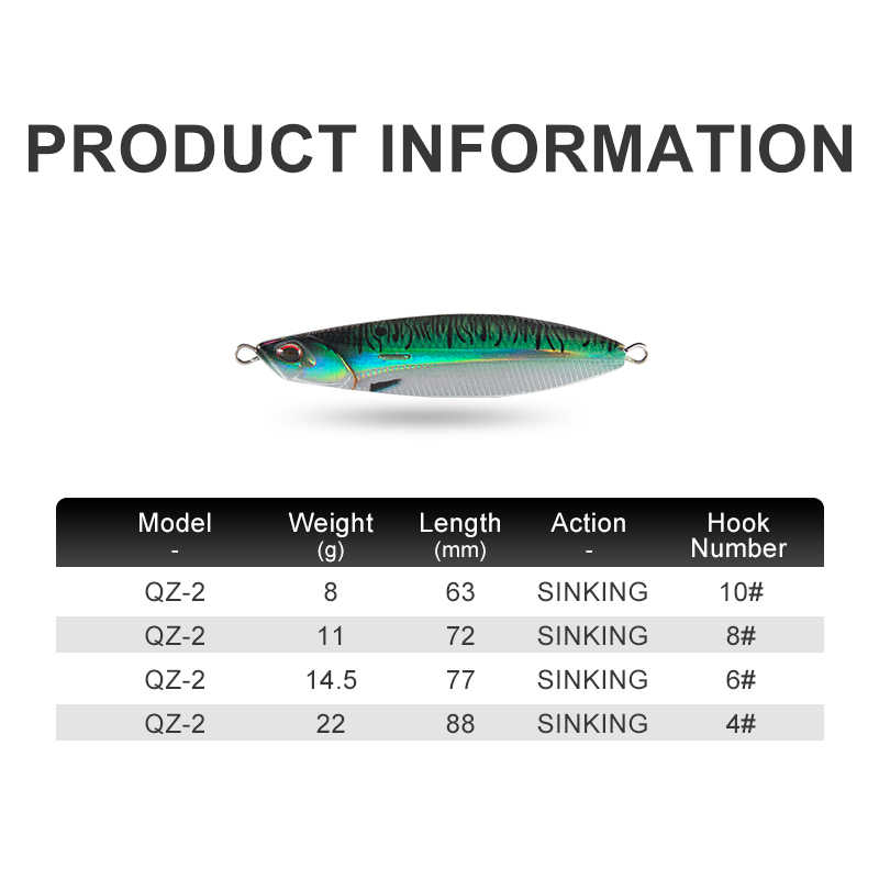 Kingdomใหม่โลหะJigตกปลาเหยื่อ 8G 11G 14.5G 22G 3Dจำลองปลาหล่อยาวJiggingช้อนพลาสติก + ตะกั่วตกปลาเหยื่อ