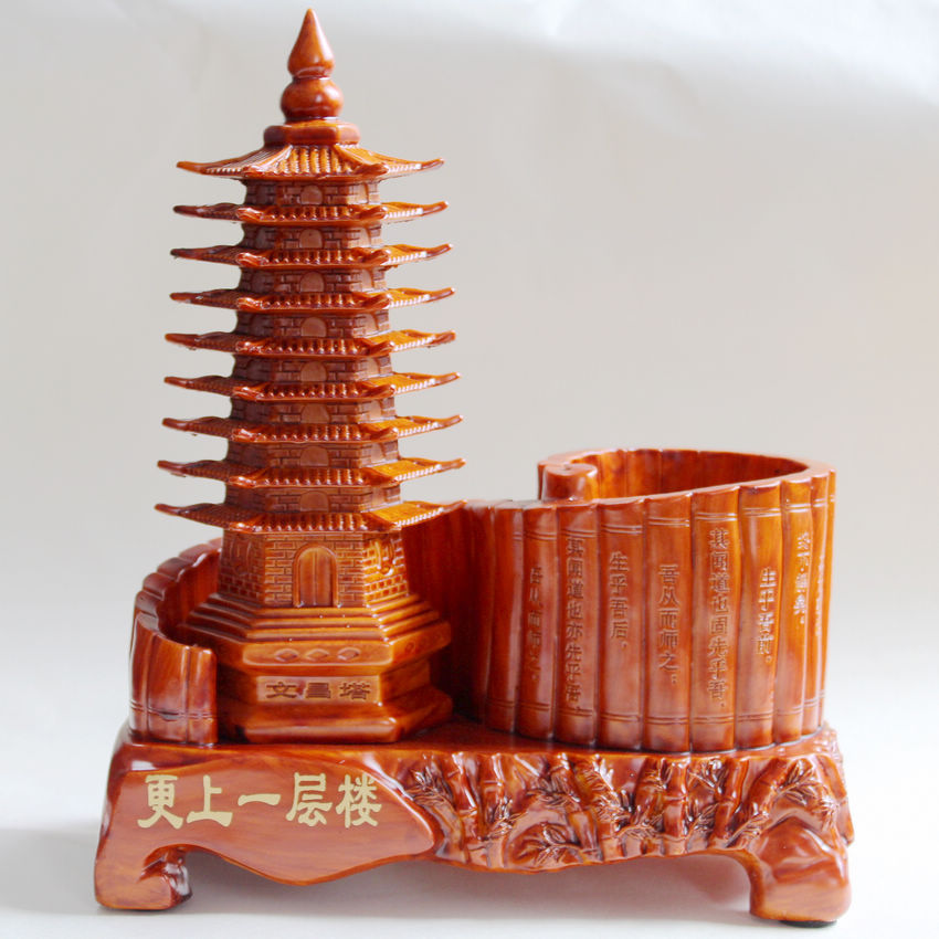 Nouveau Style artisanat Wenchang tour neuf stylo conteneur résine décorations bureau bureau bureau décorations jour de l'enseignant cadeau offre spéciale
