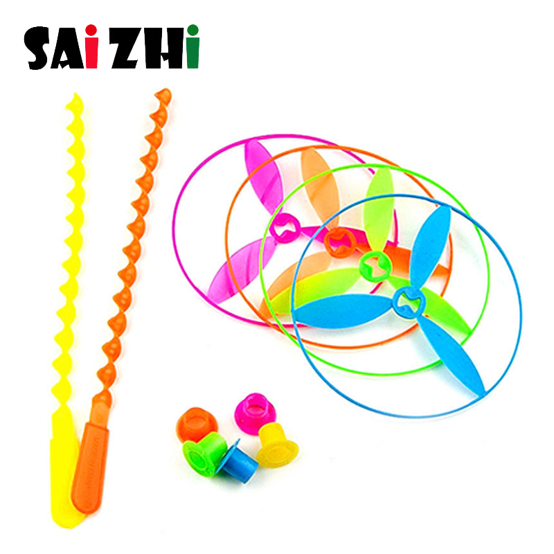 Saizhi 1 Pcs Novelty Toys  Ffying Fairy Flying Saucer UFO Flying Wheel Flying Gyro Hand Made Bamboo Dragonfly Gift Outdoor Toy