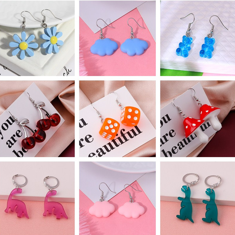 1 Pairs Creative Cartoon Dice Flower Dinosaur Gummy Mini Bear Earrings for Women Cute Candy Color Clouds Dangles Ear Hook Gifts