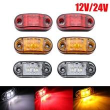2 pces 12v 24v conduziram luzes laterais do marcador para caminhões do reboque a lâmpada lateral do marcador do afastamento do lado da caravana conduziu o branco vermelho 10-30v do âmbar do caminhão