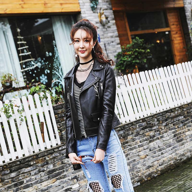 ผู้หญิงหนังแท้ 2020 Sheepskin รถจักรยานยนต์คลาสสิกแจ็คเก็ตหญิง Basic คุณภาพดีเสื้อแจ็คเก็ต S