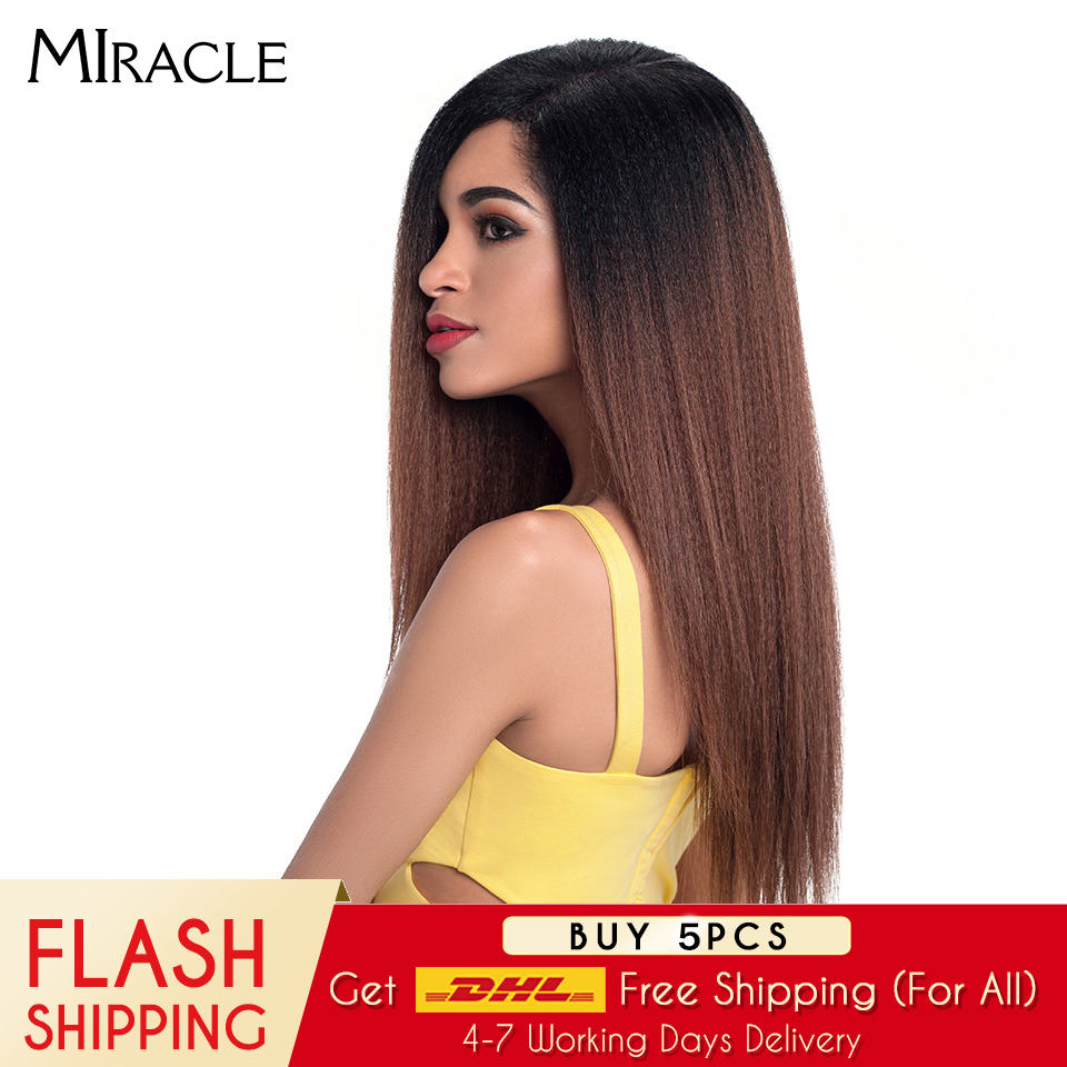 "Miracle Hair Ombre 26""Inch Long Straight Synthetic Hair Lace Front Wigs For Black Women Yaki Lace Wigs With Baby Hair Free Part