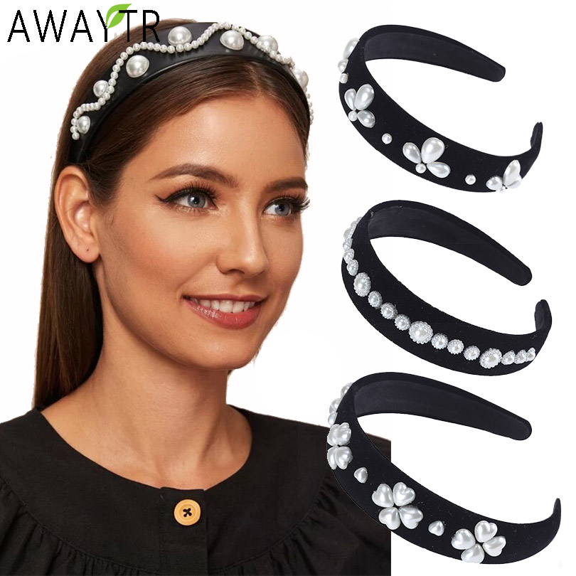 AWAYTR Baroque Headbands Pearl Crown  For Women Tiara Hair Accessories For Girls Retro Velvet Hair Bands Hoop Hair Bows