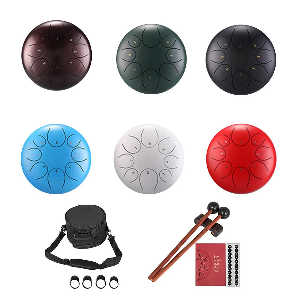 10/12 Inch 8 Note Stainless Steel Tongue Drum Percussion Instrument Lotus Hand Pan Drum With Drum Mallets Carry Bag