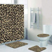 Conjunto de 4 peças de cortina para banho, estampa de leopardo, tapete para banheiro, capa para vaso sanitário, vida selvagem, imperdível decoração de casa presente