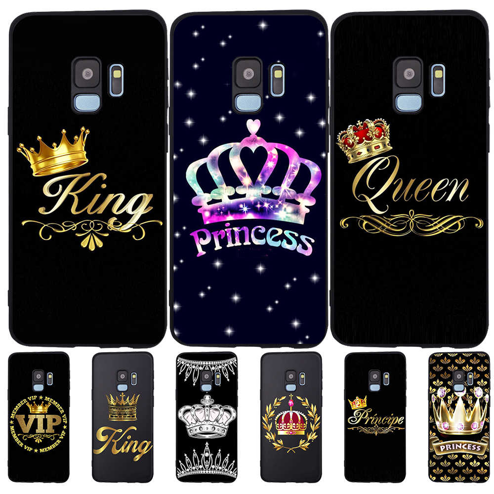 Kral kraliçe lüks Samsung Galaxy S6 S7 kenar S8 S9 S10 artı Lite not 8 9 10 A30 A40 a50 A60 A70 M10 M20 telefon kılıfı çift