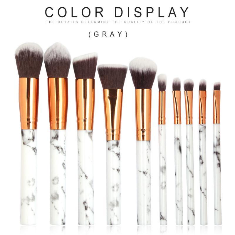 10PCS/Set Of Makeup Brushes Multi-function Marbled Eye Shadow Foundation Brush Set Non-stick Powder Contour Brush Makeup Tools