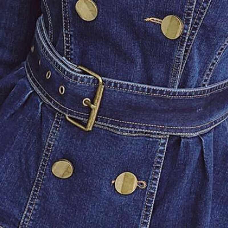 Otoño mujer delgada chaqueta de mezclilla elegante Oficina señoras doble cinturón de algodón chaqueta de moda azul de cuello vuelto Jeans chaqueta