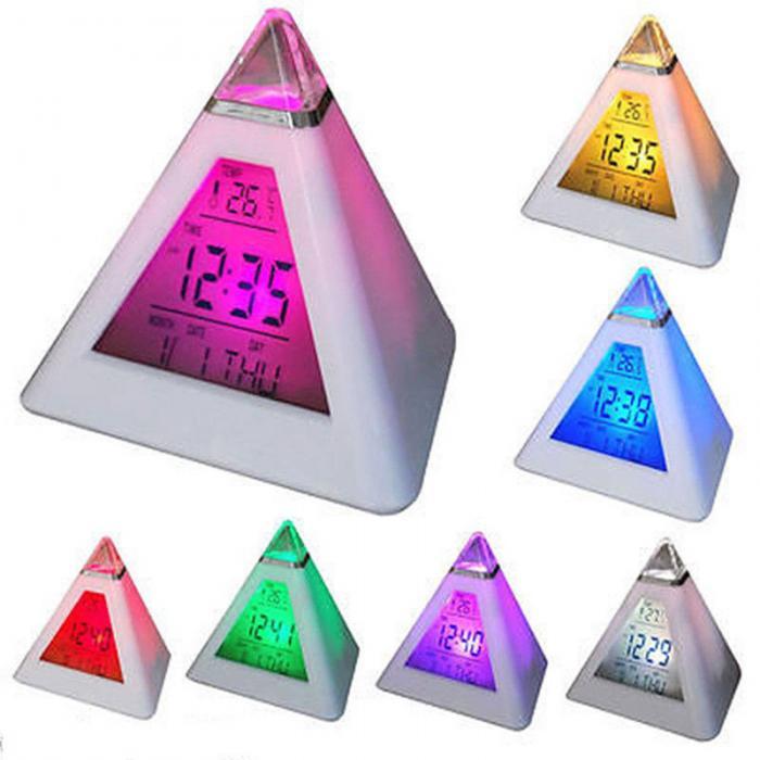 Digital LED Alarm Clock 7 Colors Changing Night Light Time Temperature Display Pyramid Shape Desk Clock