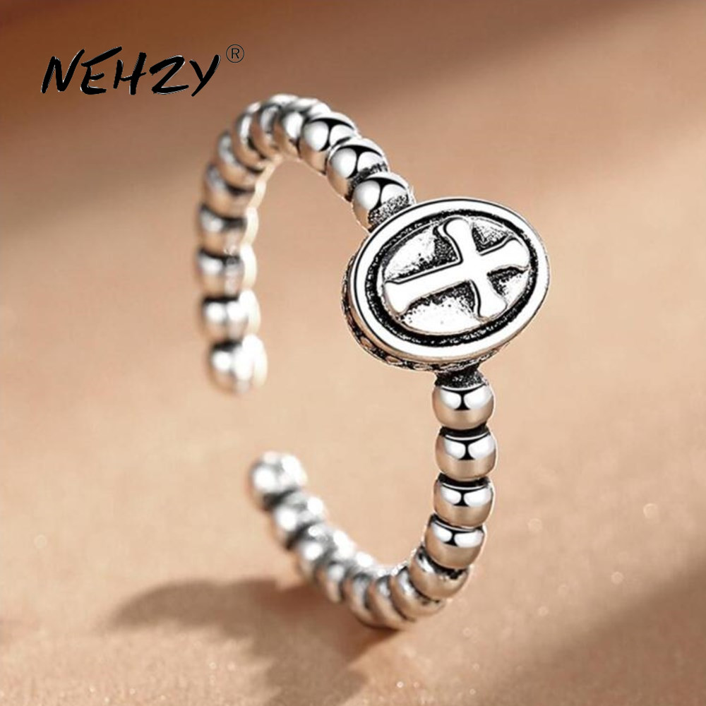 NEHZY 925 sterling silver ring fashion woman jewelry retro simple Thai silver adjustable hot sale new cross high quality ring