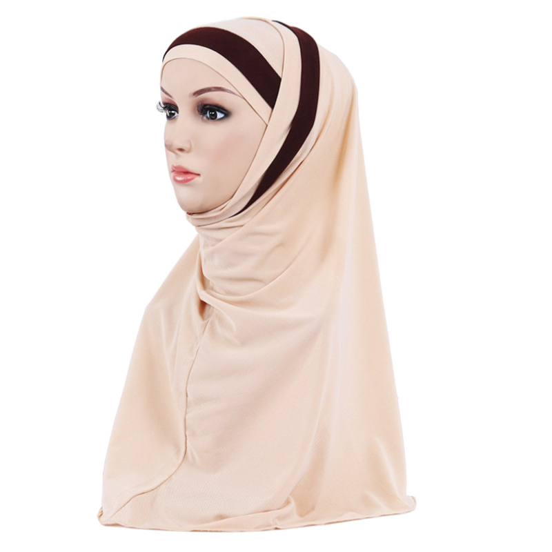 Новинка, мусульманский хиджаб H109 из двух частей, простой тянущийся мусульманский шарф, повязка на голову, повязка на голову, головной платок...