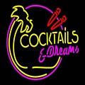 Неоновая вывеска для коктейлей и снов с пальмовым деревом  ручная работа  Настоящая стеклянная трубка для безалкогольных напитков  бар KTV  м...