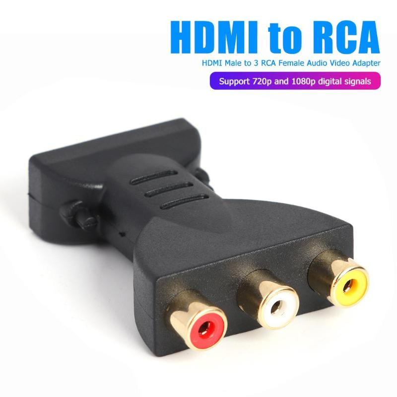 Gold-plated <font><b>HDMI</b></font> <font><b>Male</b></font> <font><b>to</b></font> <font><b>3</b></font> <font><b>RGB</b></font> <font><b>RCA</b></font> Video Audio Adapter AV Component Converter for 720P 1080iP 1080P HATV DVD Projector image