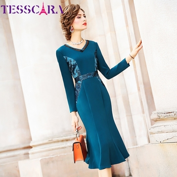 TESSARA Women Spring & Autumn Elegant V-neck Dress Female Long Cocktail Party Robe High Quality Lace Designer Vintage Vestidos 1
