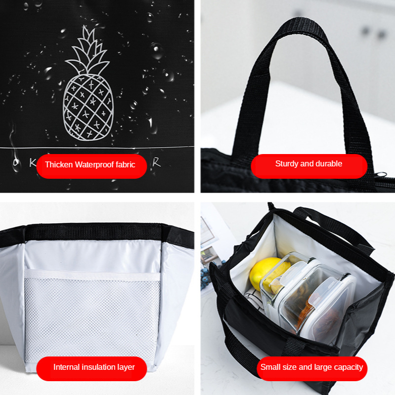 Portable Insulated Lunch Storage Bag Fresh Lunch Picnic Pouch Food Fruit Vegetable Organizer Travel Hot Drink Hand Accessories