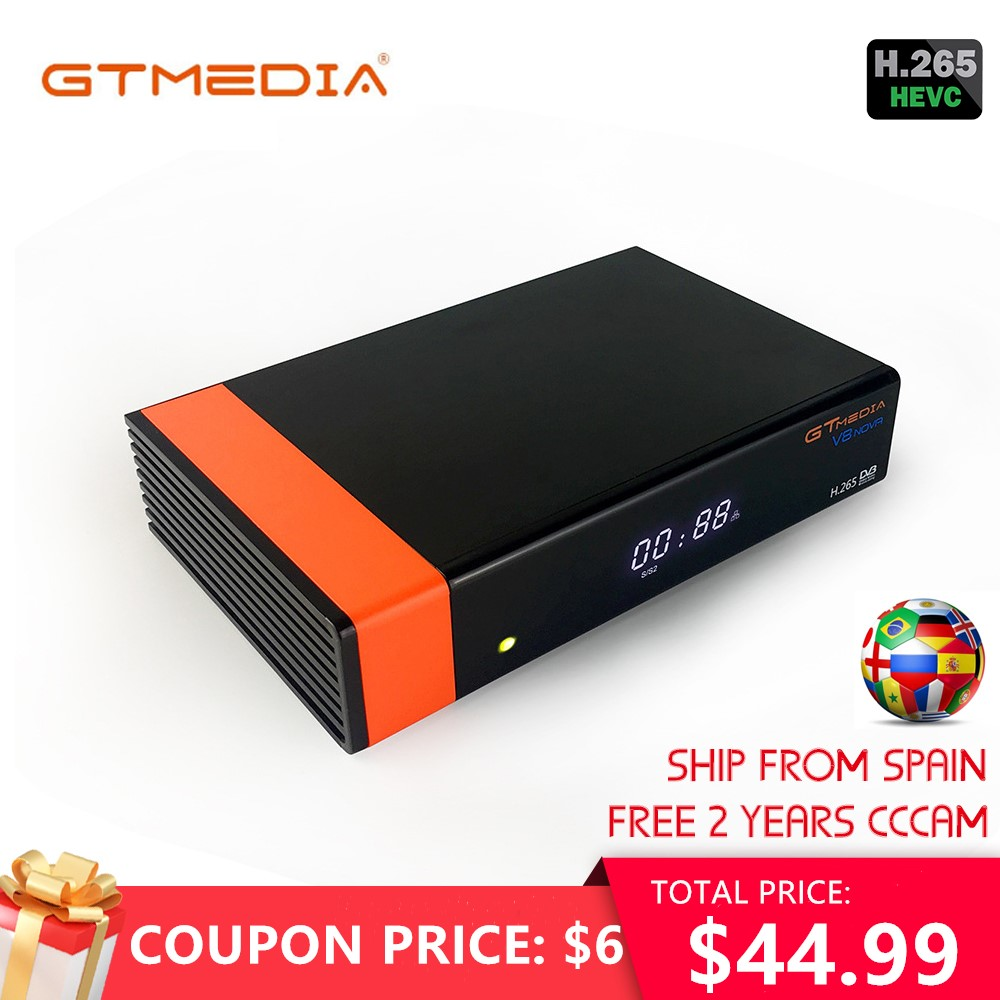 Gtmedia V8 NOVA From Freesat V8 Super TV Receiver Receptor Support Built-in WIFI H.265 DVB-S2 Cline Cccam Box Spain Tv Decoder