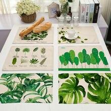 Из хлопка и льна циновка таблицы 42x32 см зеленые листья коврик