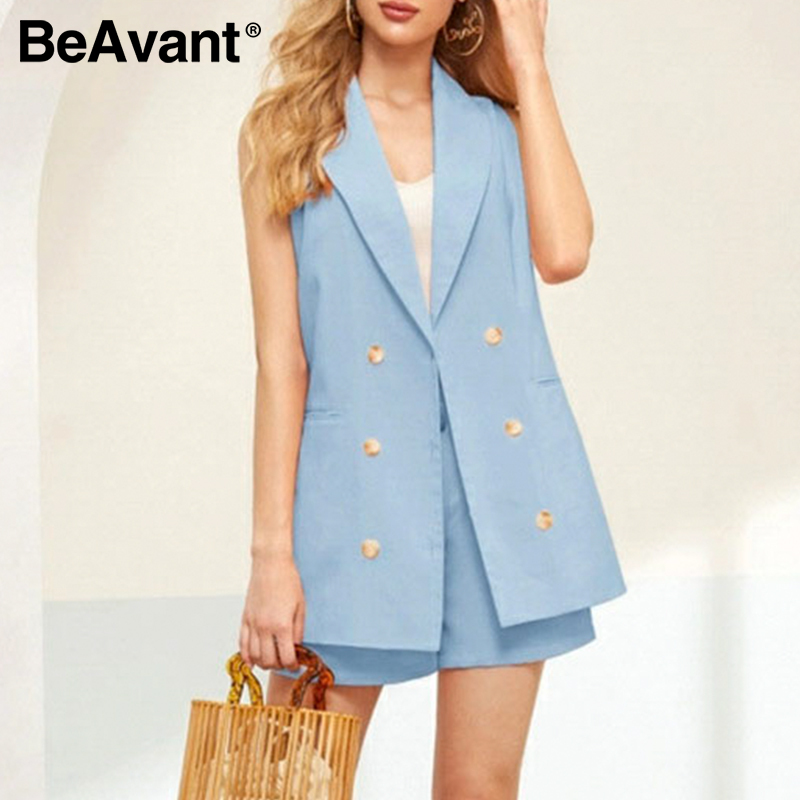 BAvant 2020 Ladies Office Sleeveless Blazer Set Double Breasted High Waist Belt Blazer Shorts Suit Women Spring Summer Suits