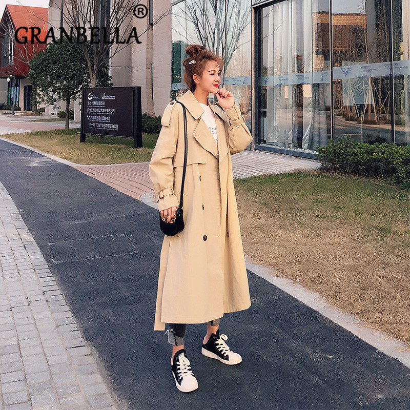 2019 vintage khaki coat new student long   trench   coats waist with belt solid color double breasted Korean fashion