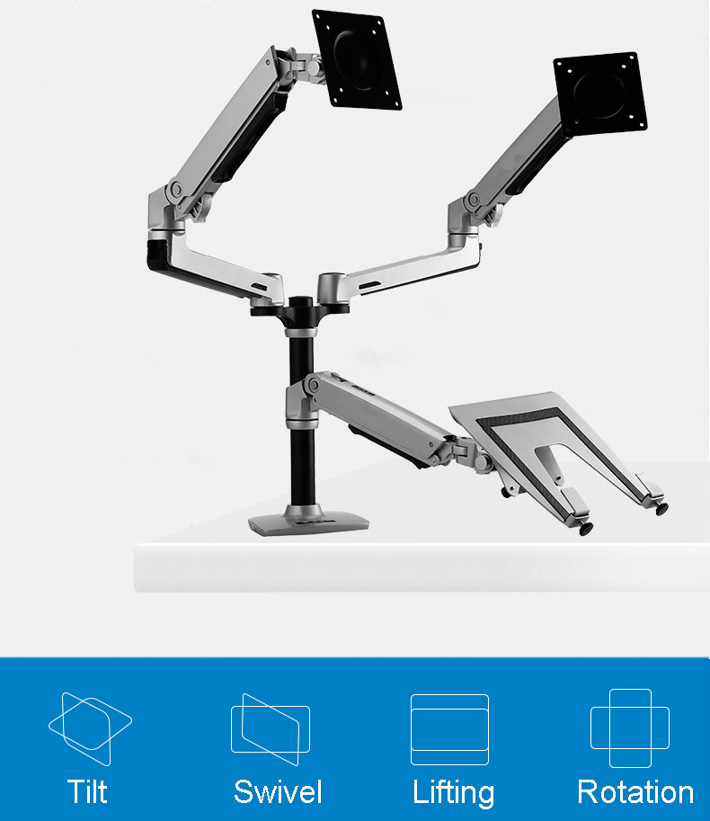 Desktop Full Motion 17-<font><b>32inch</b></font> Dual <font><b>Monitor</b></font> Holder Mount Arm +10-15.6inch Laptop Support Mechanical Spring Arm Max.Loading 10kgs image