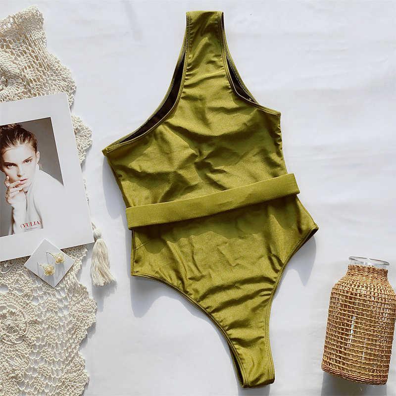 2020 nuovo Sexy Scava Fuori Il vestito di Un Pezzo del Costume Da Bagno Delle Donne Costumi Da Bagno Una Spalla Della Tuta del Costume Da Bagno Monokini Costume Da Bagno Nero Costumi Da Bagno