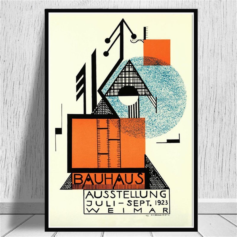 sin Montura Zhuhuimin Carteles y Grabados Bauhaus Ausstellung 1923 Weimer exposici/ón p/óster Arte de la Pared Pintura Lienzo decoraci/ón de Interiores Pintura 50x70cm