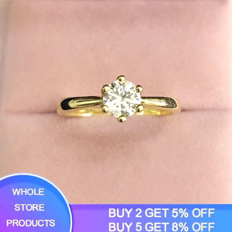 YANHUI Original 925 Sólidos Anéis de Prata da Cor do Ouro Solitaire CZ Banda Anéis de Noivado da Jóia Do Casamento Para As Mulheres LR040J Diamant
