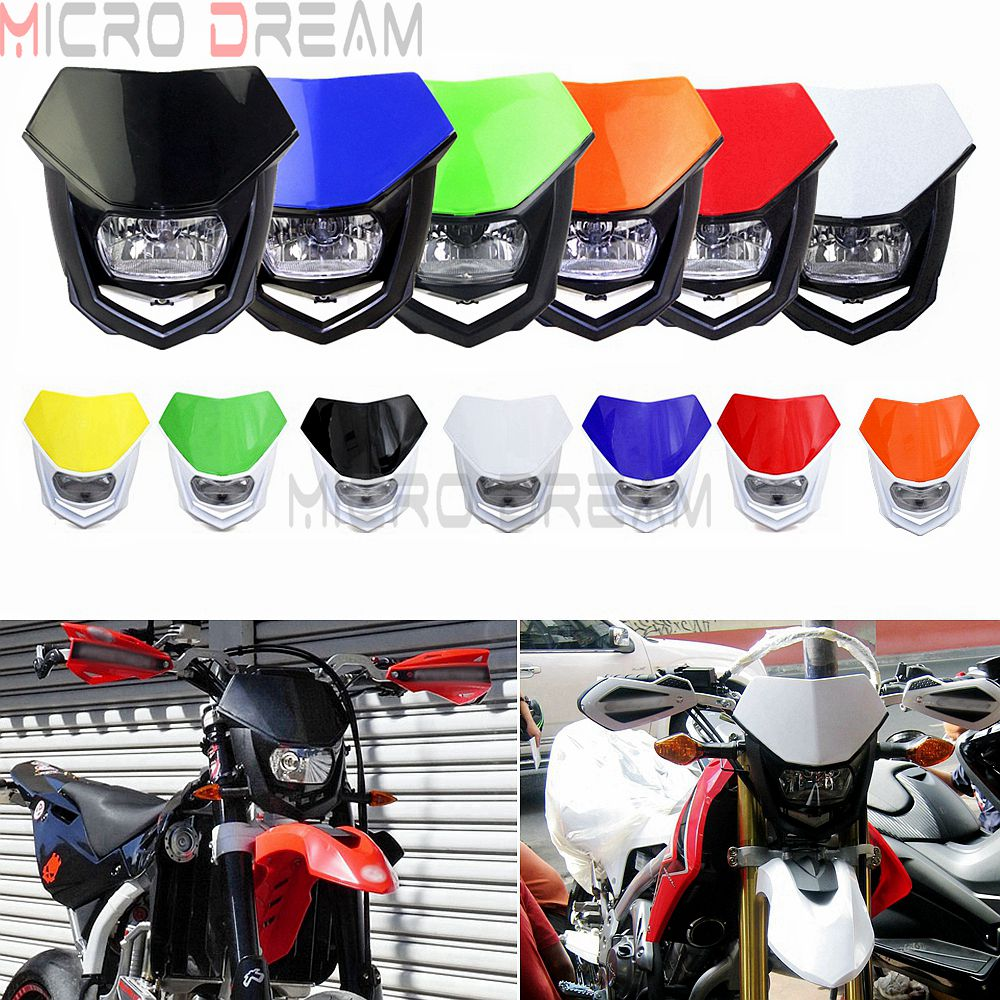 13 Colors Universal 12V H4 Headlight Fairing Motocross Enduro Supermoto Dirt Bike Head Light Mask For KTM Honda Yamaha Kawasaki