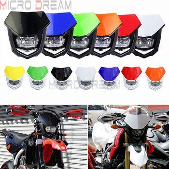 13 Colors Universal 12V H4 Headlight Fairing Motocross Enduro Supermoto Dirt Bike Head Light Mask For KTM Honda Yamaha Kawasaki