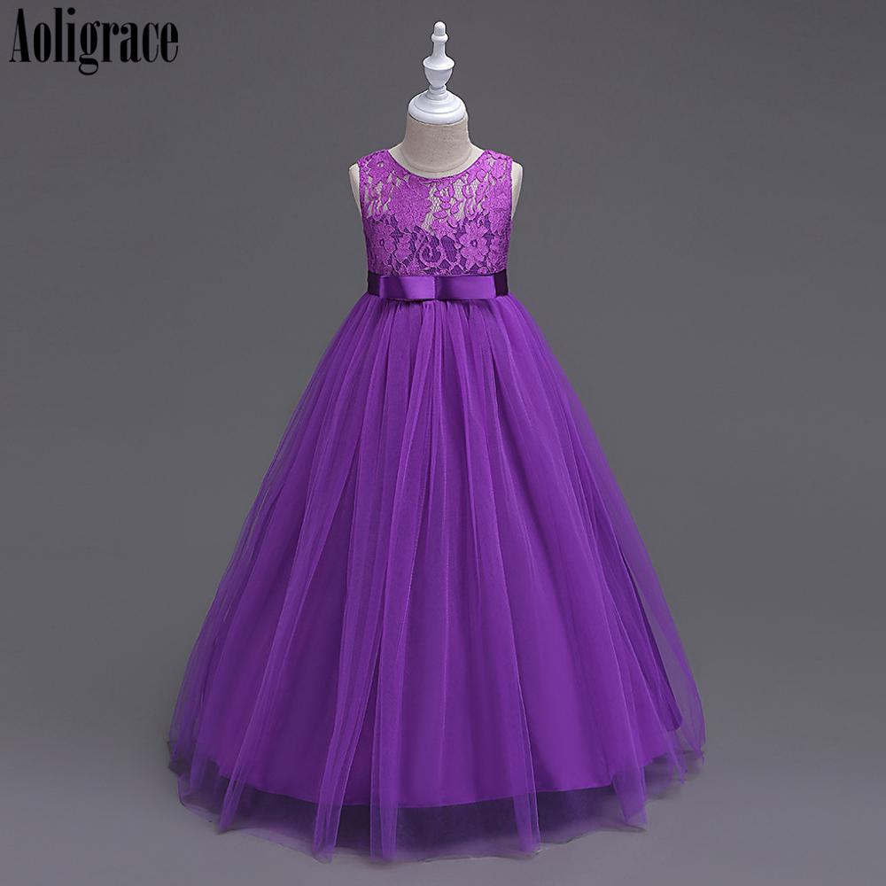 Aoligrace Children's Dress Scoop Sleeveless Zipper Flower Girl Dresses For Wedding Birthday Party Pageant Dresses For Girls